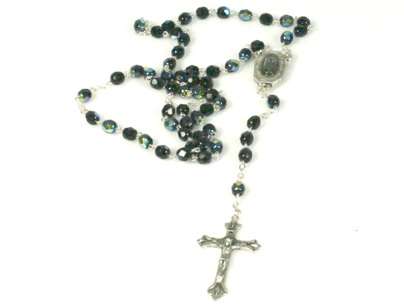 black crystal rosary with holy water