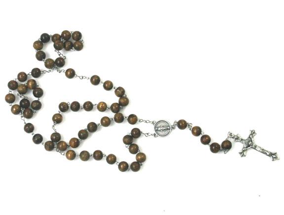 167-4120 wooden rosary w serif cross