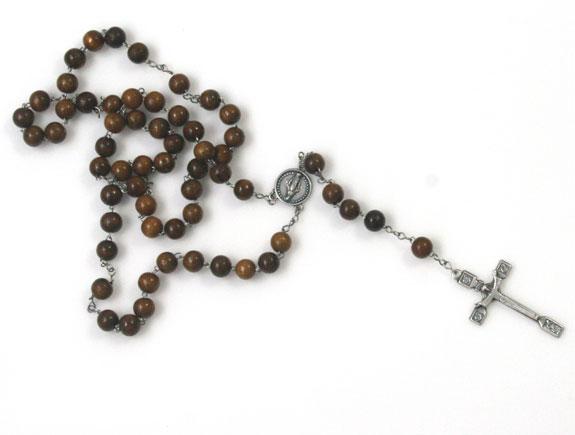 167-4120-3 wooden rosary w sq cross